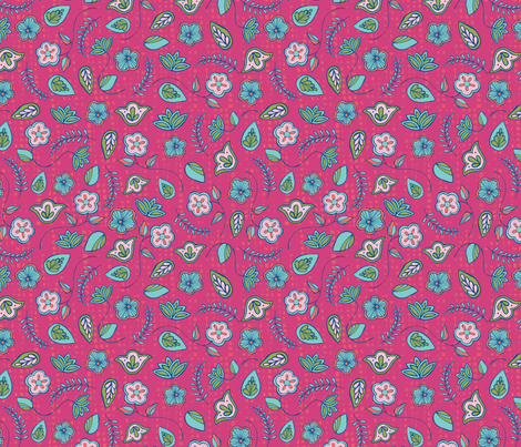 Indian Garden Pink fabric by esther_loopstra_illustration on Spoonflower - custom fabric