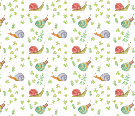 snails white / kids baby clothes fabric by houseintheorchard on Spoonflower - custom fabric