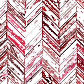Whitewashed Wood Parquetry - Red