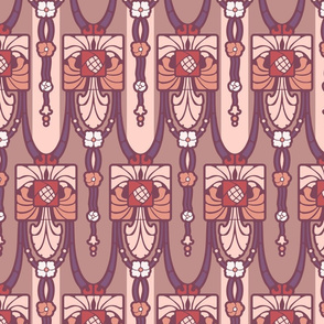 RFloral nouvean, mauve and peach