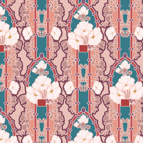 Multicolored floral nouveau