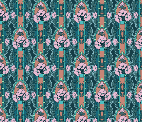 floral nouveau, mauve and teal fabric by hannafate on Spoonflower - custom fabric