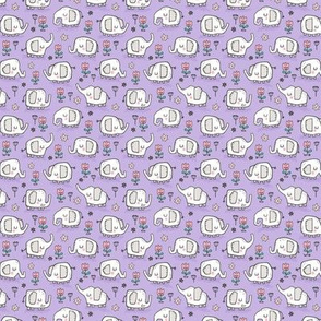 Elephants With Flowers on Purple Lilac Tiny Small