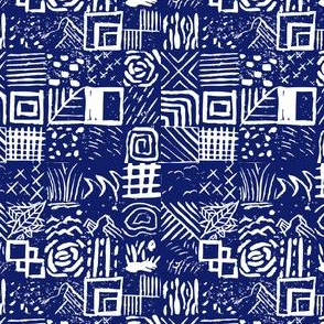 Linocut Exercises in Navy and White