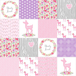 Dearly Loved Fawn Cheater Quilt Fabric - Baby Girl Nursery (pink lavender gray)