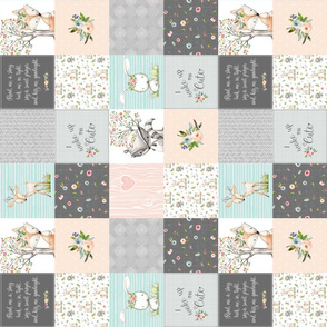 "3"" BLOCKS- Woodland Friends Nursery Patchwork Quilt (rotated) - Wholecloth Deer Fox Raccoon Bunny (Grey Blush) GingerLous"
