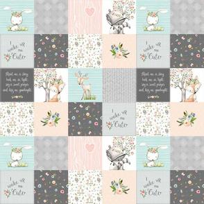 "3"" BLOCKS- Woodland Friends Nursery Patchwork Quilt - I Woke Up This Cute Wholecloth Deer Fox Raccoon Bunny (Grey Blush) GingerLous"