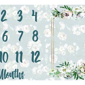 White Hand Painted Floral Miletones Months Blanket Fleece