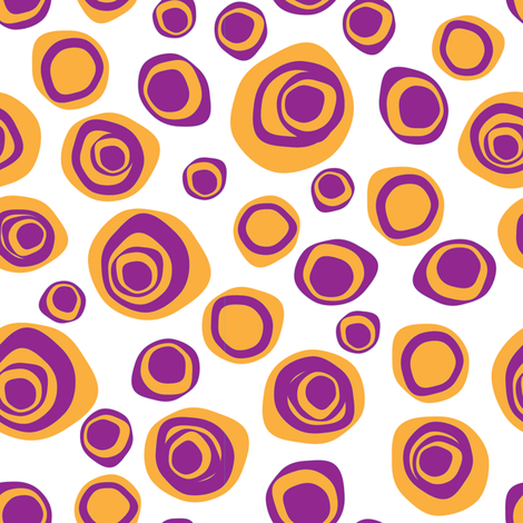 Tangerine and grape distorted circles allover print fabric by tomokosart on Spoonflower - custom fabric