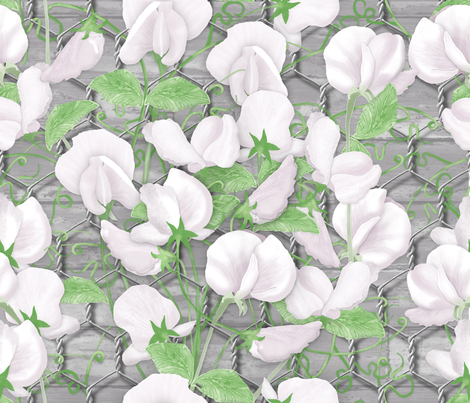 Sweet Pea fabric by j9design on Spoonflower - custom fabric