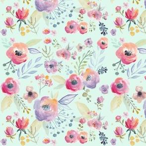 spring watercolour flowers mint