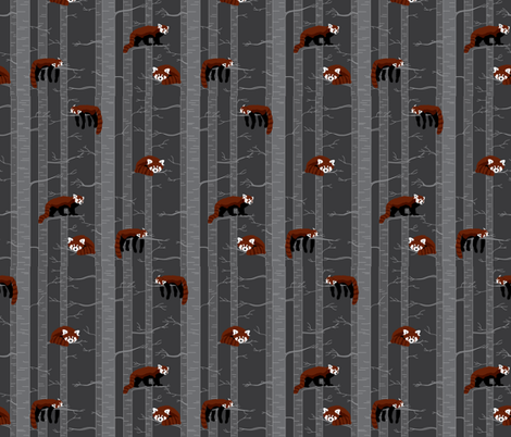 red pandas in the forest fabric by groundnut_apiary on Spoonflower - custom fabric