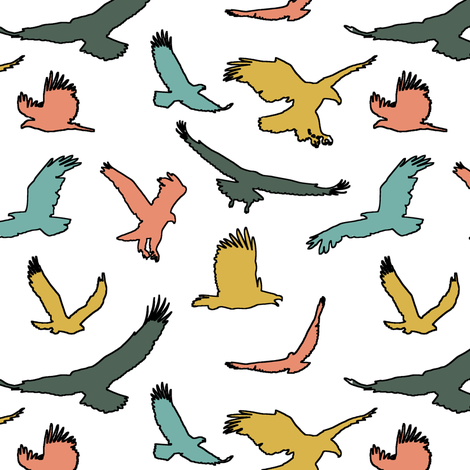 Retro Eagles // Large fabric by thinlinetextiles on Spoonflower - custom fabric