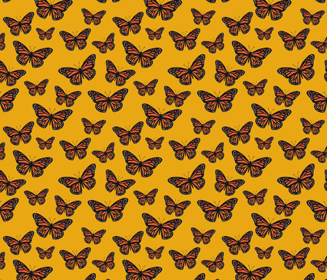Monarch Butterflies Gold fabric by houseintheorchard on Spoonflower - custom fabric