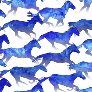 Running Watercolor Horses Deep Blue