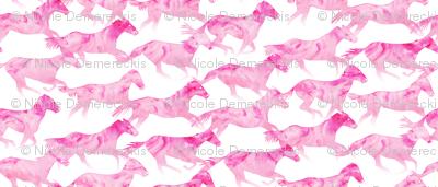 Running Watercolor Horses Pink