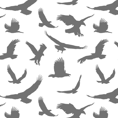 Grey Eagles // Large fabric by thinlinetextiles on Spoonflower - custom fabric