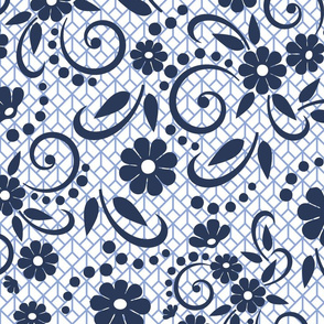 Navy Whimsical Swirls and Florals