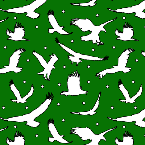 Eagle Dots on Green // Large fabric by thinlinetextiles on Spoonflower - custom fabric