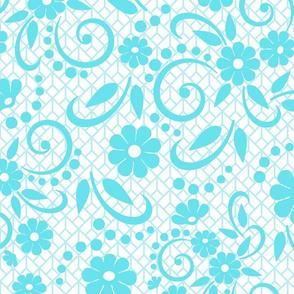 Aqua Whimsical Florals