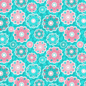 Funky Aqua and Pink Flowers