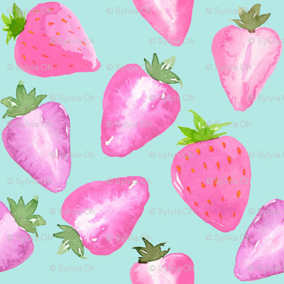 Strawberries Pink Watercolour on mint Extra Small
