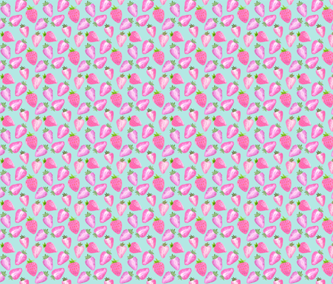 Strawberries Pink Watercolour on mint Extra Small fabric by sylviaoh on Spoonflower - custom fabric