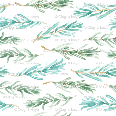 Watercolor Rosemary pattern seamless 13