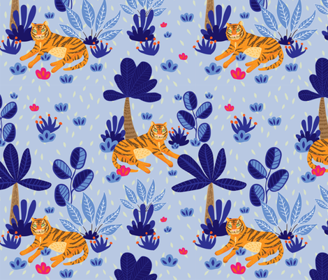 Blue Tyger fabric by mabletandesigns on Spoonflower - custom fabric