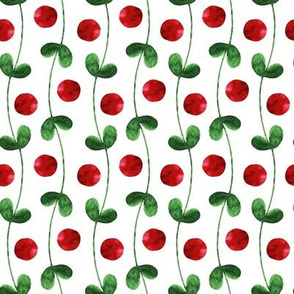 watercolor green and red design with berries