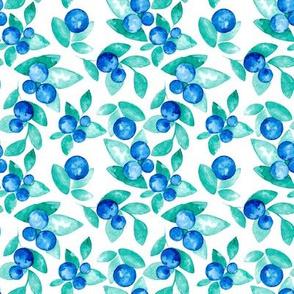 watercolor blue berries pattern