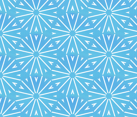 Farmhouse Geometric Wheel - Blue And Teal Watercolor fabric by jendesignz on Spoonflower - custom fabric