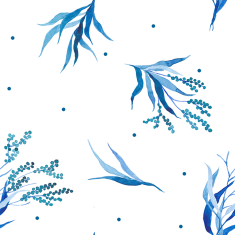 blue watercolor floral fabric by yashroom on Spoonflower - custom fabric