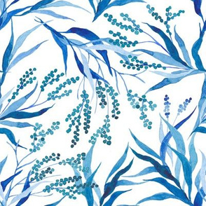 Blue floral watercolor branches