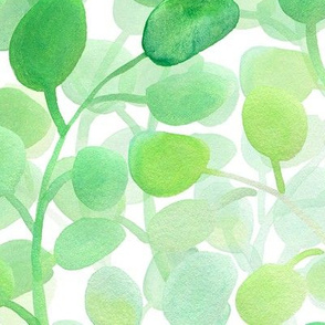 green leafy wall in watercolor