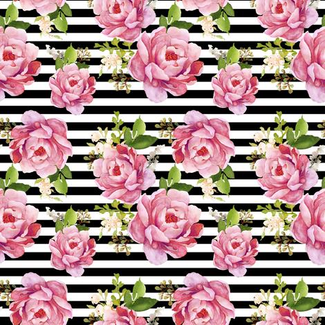 4 Light Pink Sunrise Black And White Stripes Fabric Shopcabin