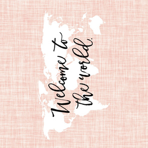 Welcome To The World Baby Blanket // Pale Pink Linen // Rotated