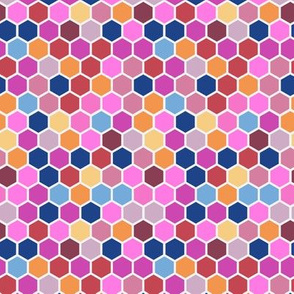 Geometric Hexie Hexagon Candy Pink Orange Red Blue Spots Dots _ Miss Chiff Designs