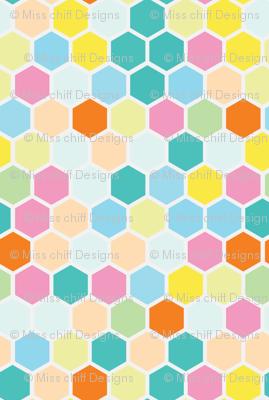 Small Pastel Candy Hexagon Mint Green    Hexie Spots Dots Peach Yellow Teal Aqua Orange _ Miss Chiff Designs