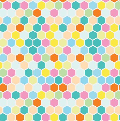 Small Pastel Candy Hexagon Mint Green    Hexie Spots Dots Peach Yellow Teal Aqua Orange _ Miss Chiff Designs  fabric by misschiffdesigns on Spoonflower - custom fabric