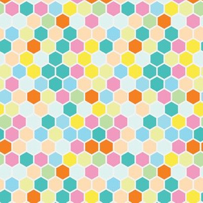 18-7AE Hexagon Pastel Rainbow
