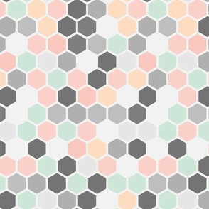 18-7AC Hexagon Pastel Pink Peach Gray Grey Mint Green White Dots