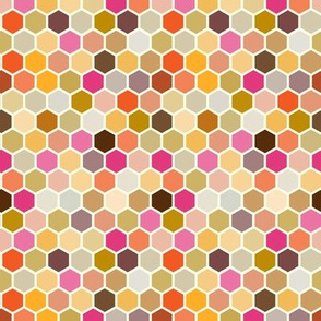Fall Autumn Hexagon Pink Magenta Gold Plum Yellow Orange Gray Grey  Taupe Spots and Dots _ Miss Chiff Designs