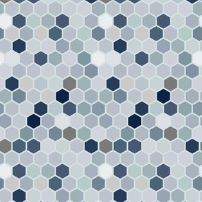 Neutral  Geometric Hexie Hexagon Retro Tile  Gray Grey Brown Blue Taupe Spots Dots _ Miss Chiff Designs