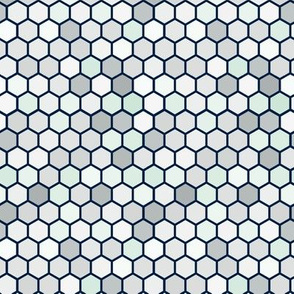 Geometric Hexie Hexagon Retro Tile  Gray Grey Mint White Spots Dots _ Miss Chiff Designs