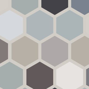 18-07V Jumbo Large Scale Hexagon Hexie Neutral Home Decor Slate Blue Taupe Brown Gray grey _ Miss Chiff Designs