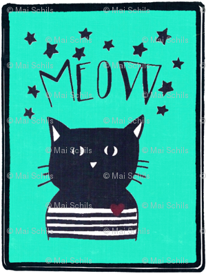 Cat print for quilting or kids decor