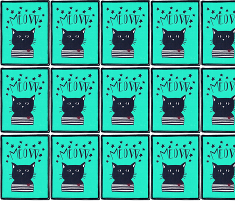 Cat print for quilting or kids decor fabric by andmonstertoys on Spoonflower - custom fabric