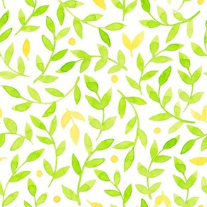 Light summer green and yellow floral pattern