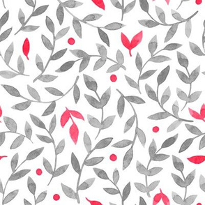 watercolor grey and red floral pattern